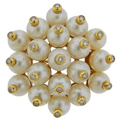 Gold Diamond Pearl Brooch Pin