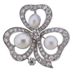Gold Diamond Pearl Clover Brooch