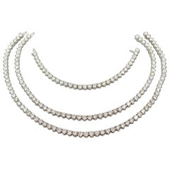 Gold Diamond Riviere Tennis Necklace and Bracelet Suite