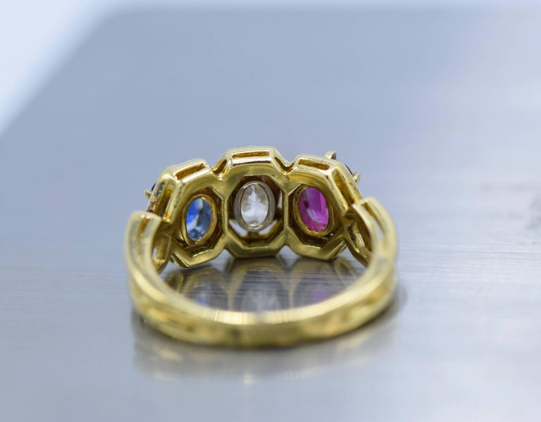 Women's Gold, Diamond, Ruby and Sapphire Ring For Sale