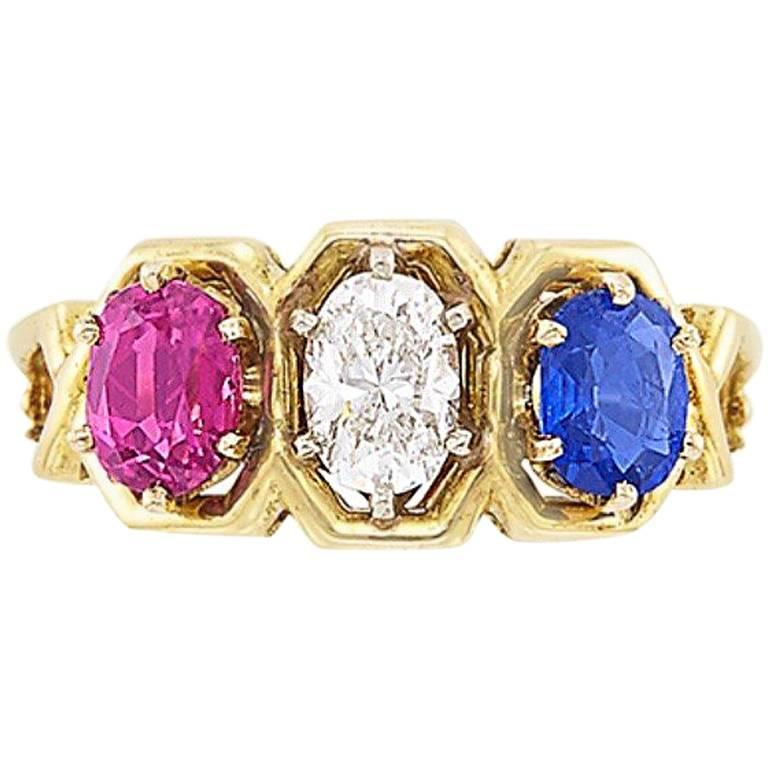 Gold, Diamond, Ruby and Sapphire Ring For Sale