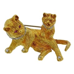 Gold Diamond Ruby Cat and Kitten Brooch Pin