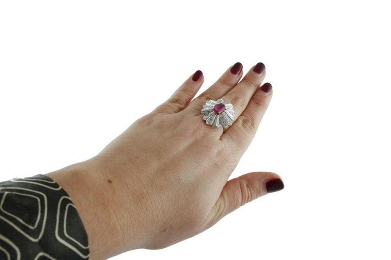 Women's Gold Diamond Ruby Dome Ring For Sale