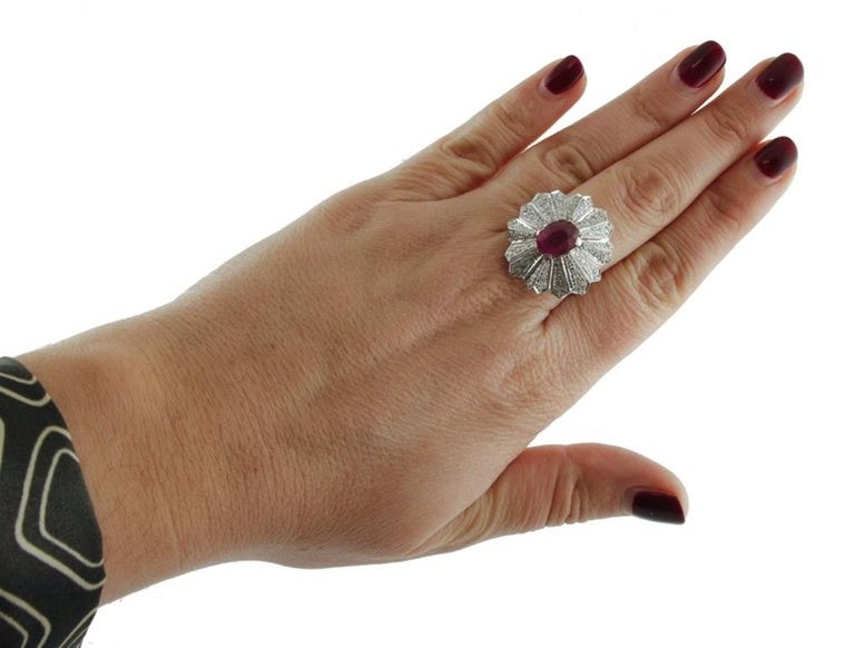 Gold Diamond Ruby Dome Ring For Sale 1