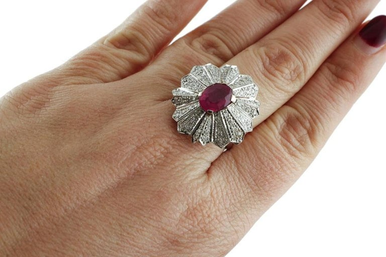 Gold Diamond Ruby Dome Ring For Sale 2