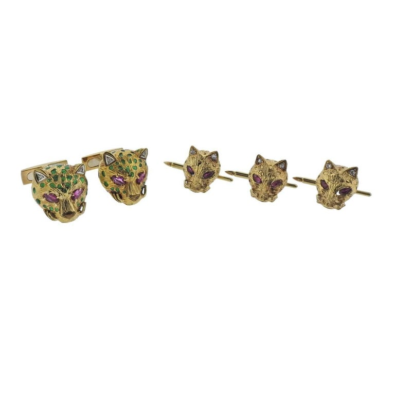 Gold Diamond Ruby Enamel Cat Cufflinks Stud Set