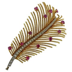 Gold Diamond Ruby Feather Brooch Pin