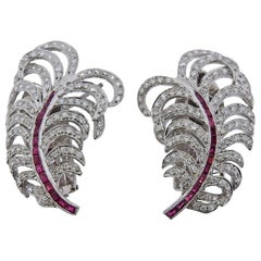Gold Diamond Ruby Feather Earrings