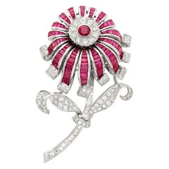 Gold Diamond Ruby Large Flower Brooch Pin