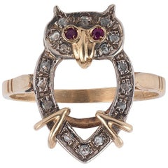 Gold Diamond Ruby Owl Ring
