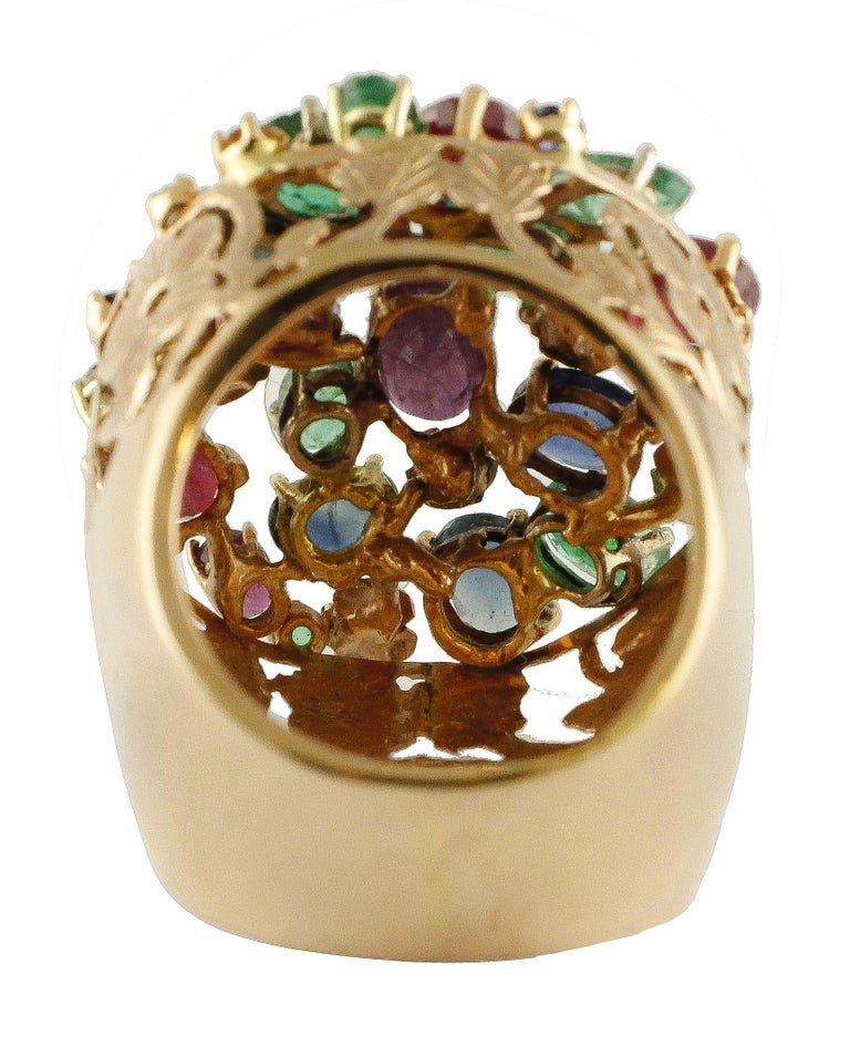 Retro Gold Diamond Ruby Sapphire Emerald Cluster Ring For Sale