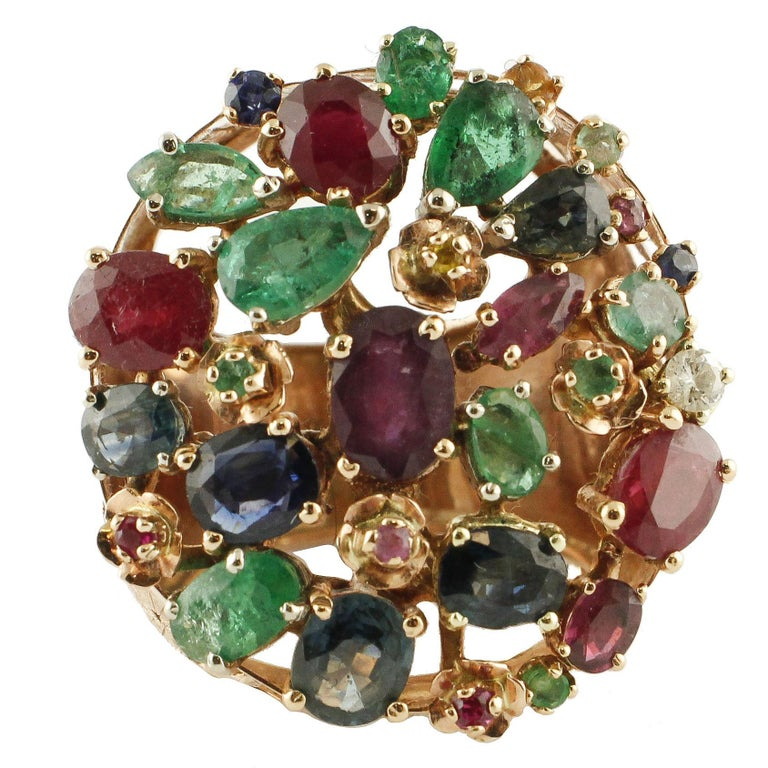 Gold Diamond Ruby Sapphire Emerald Cluster Ring For Sale