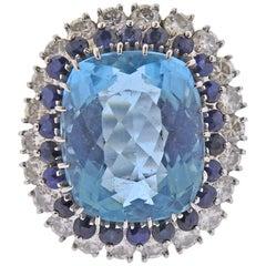 Gold Diamond Sapphire 14.5 Carat Aquamarine Ring