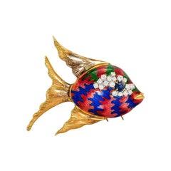 Gold, Diamond, Sapphire and Multi-Color Enamel Fish Brooch, circa 1970s