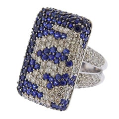 Gold Diamond Sapphire Cocktail Ring