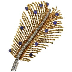 Gold Diamond Sapphire Feather Brooch Pin
