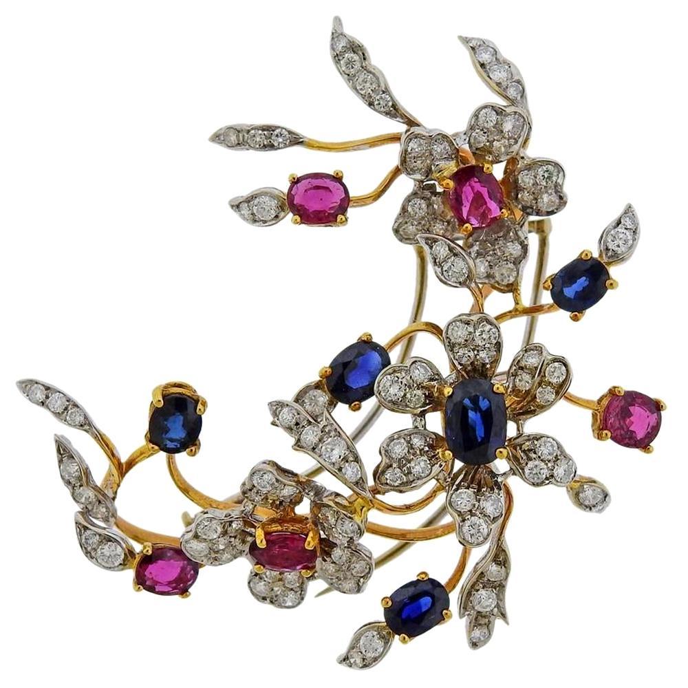 Gold Diamond Sapphire Ruby Flower Brooch Pin