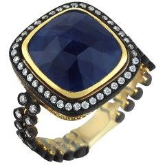 Gold Diamond Slice Cut Blue Vintage Sapphire Ring