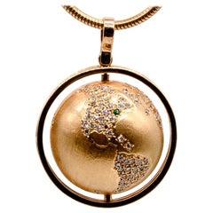 "Gold Diamond ""Spinning World"" Charm Necklace"