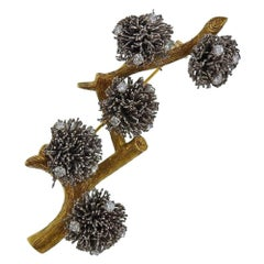 Gold Diamond Thistle Brooch