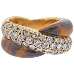 Gold Diamond Tiger's Eye Crossover Ring