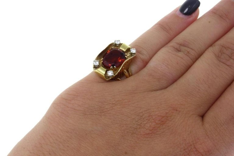 Gold Diamond Topaz Ring In Good Condition For Sale In Marcianise, Caserta