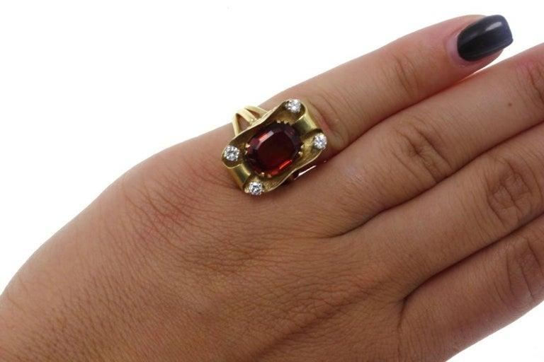 Women's Gold Diamond Topaz Ring For Sale