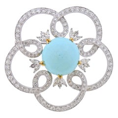 Gold Diamond Turquoise Brooch Pin