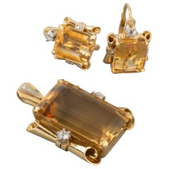 Gold Diamonds and Citrines Vintage  French Set