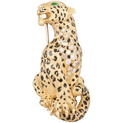 Gold Diamonds and Enamel Vintage French Panther Brooch