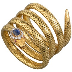 Gold Diamonds and Royal Blue Sapphire Antique Snake Bracelet