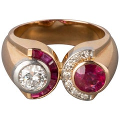Gold Diamonds and Rubies French Retro Ring