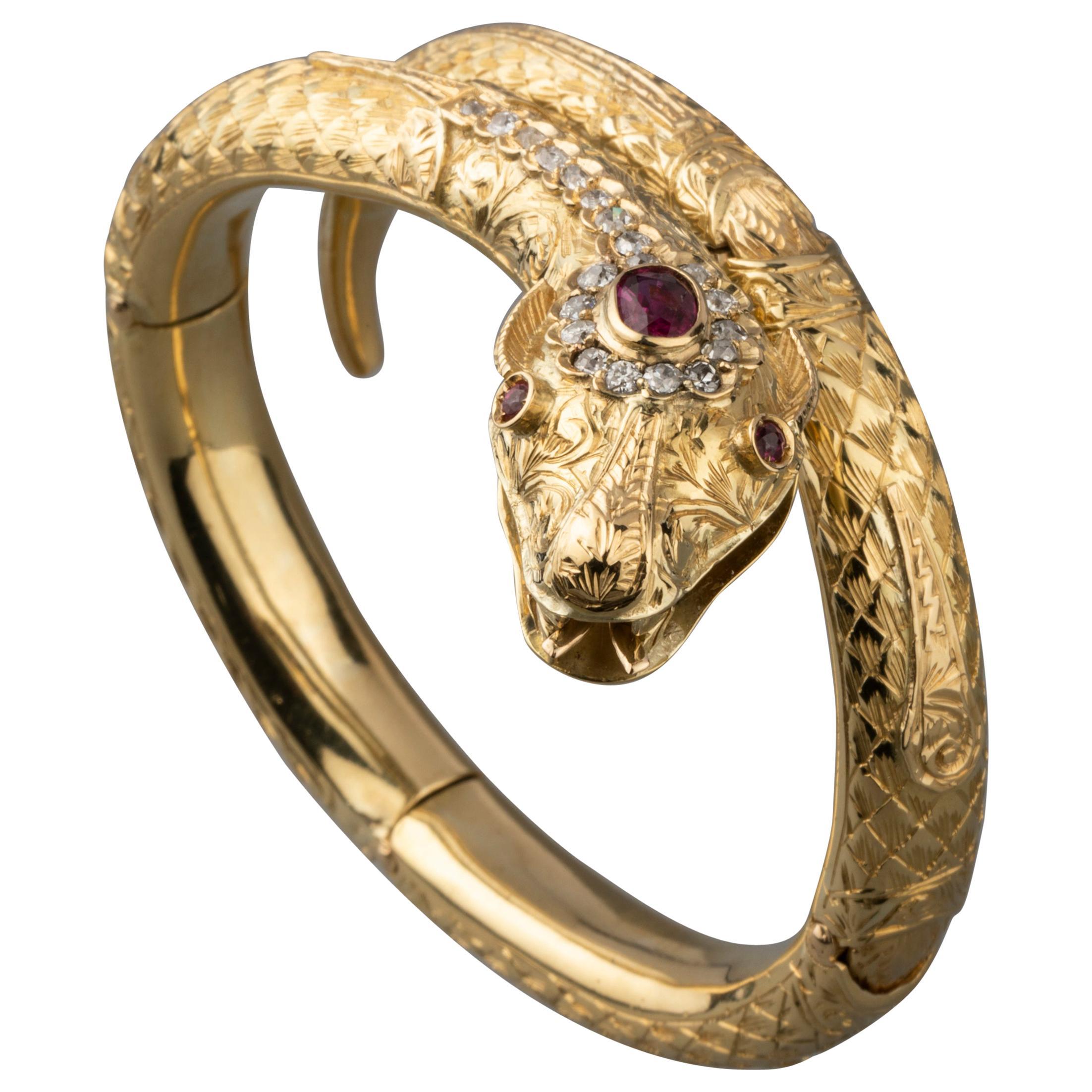 Gold Diamonds and Rubies Snake Bracelet
