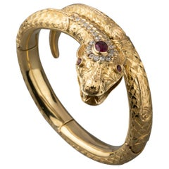 Gold Diamonds and Rubies Snake Bracelet