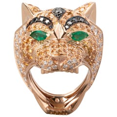 Gold Diamonds Emeralds and Sapphires Tiger Fashion Ring