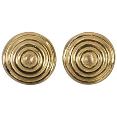 Gold Disc Ear Clips with Concentric Circles