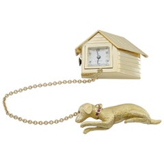 Gold Dog and Dog House Clock Brooch