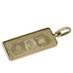 Gold Dollar Bill Charm