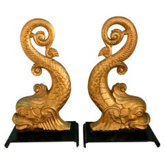 Gold Dolphin Andirons Bookends