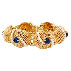 Gold Dome Link Bracelet With Sapphire Crystals & Pearls By Napier, 1970s
