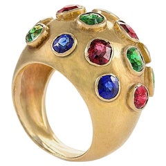 Gold Domed Ring with Sapphires, Rubies and Emeralds