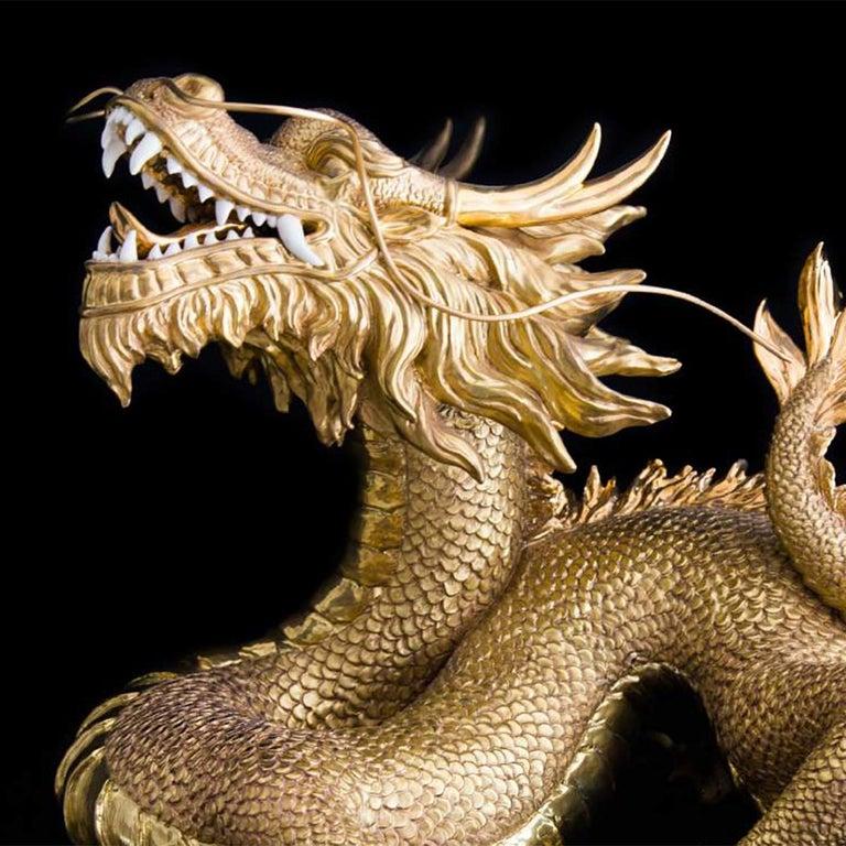 Italian Gold Dragon Sculpture For Sale
