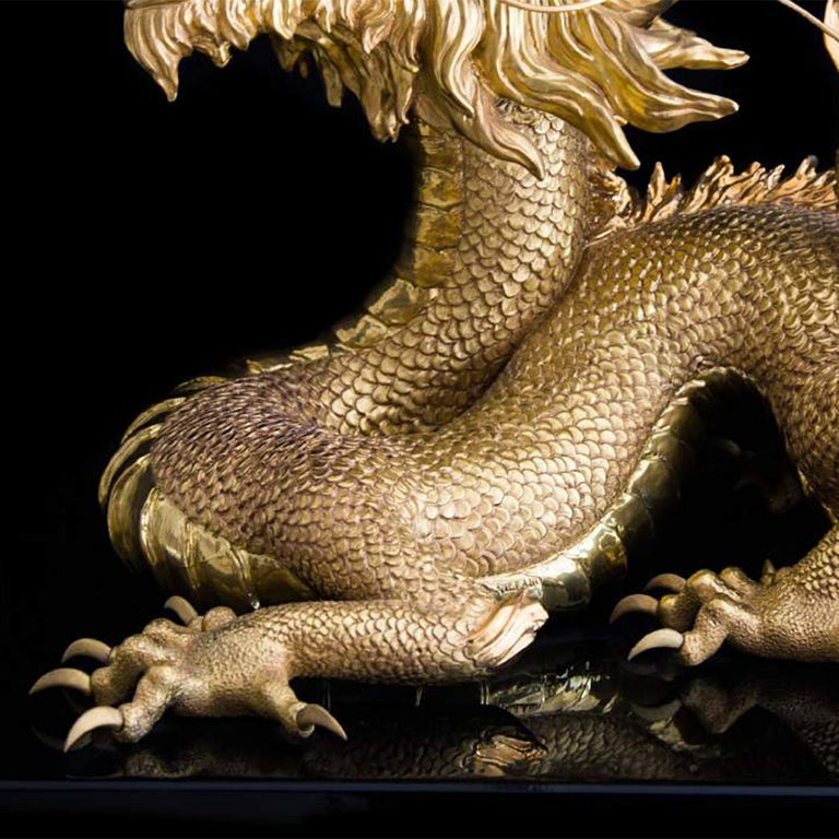 Hand-Crafted Gold Dragon Sculpture For Sale