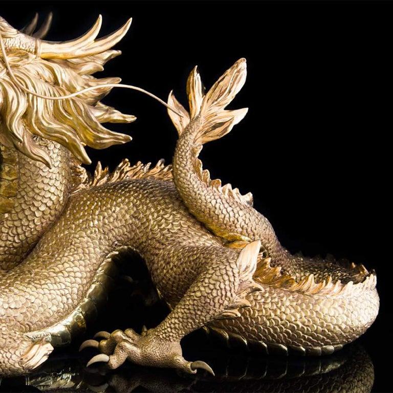 Contemporary Gold Dragon Sculpture For Sale