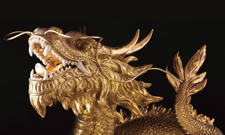Gold Dragon Sculpture For Sale 1