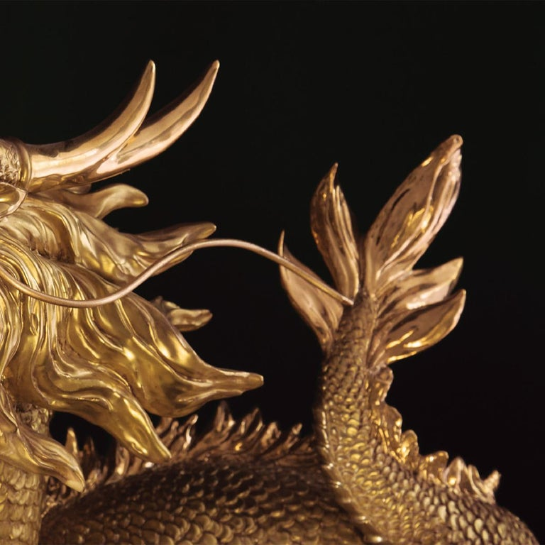 Gold Dragon Sculpture For Sale 2