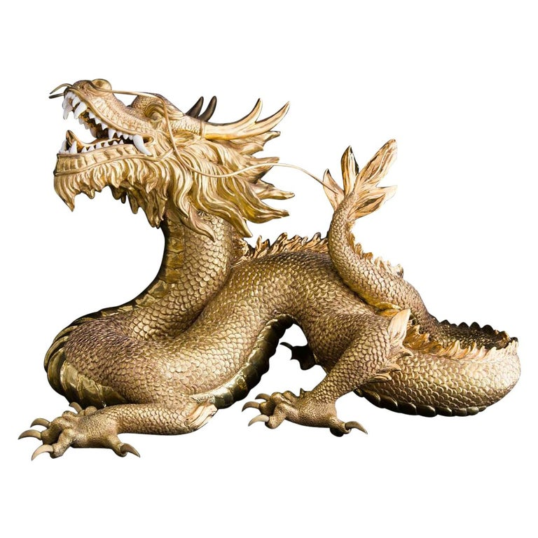 Gold Dragon Sculpture For Sale