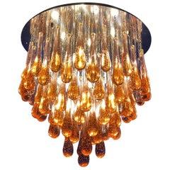 Gold Drop Amazing Murano Glass Chandelier or Flushmount