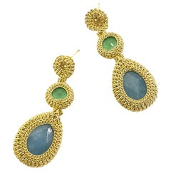 Gold Drop Earrings Contemporary Jade Swarovski Crystals Fashion Handmade Crochet