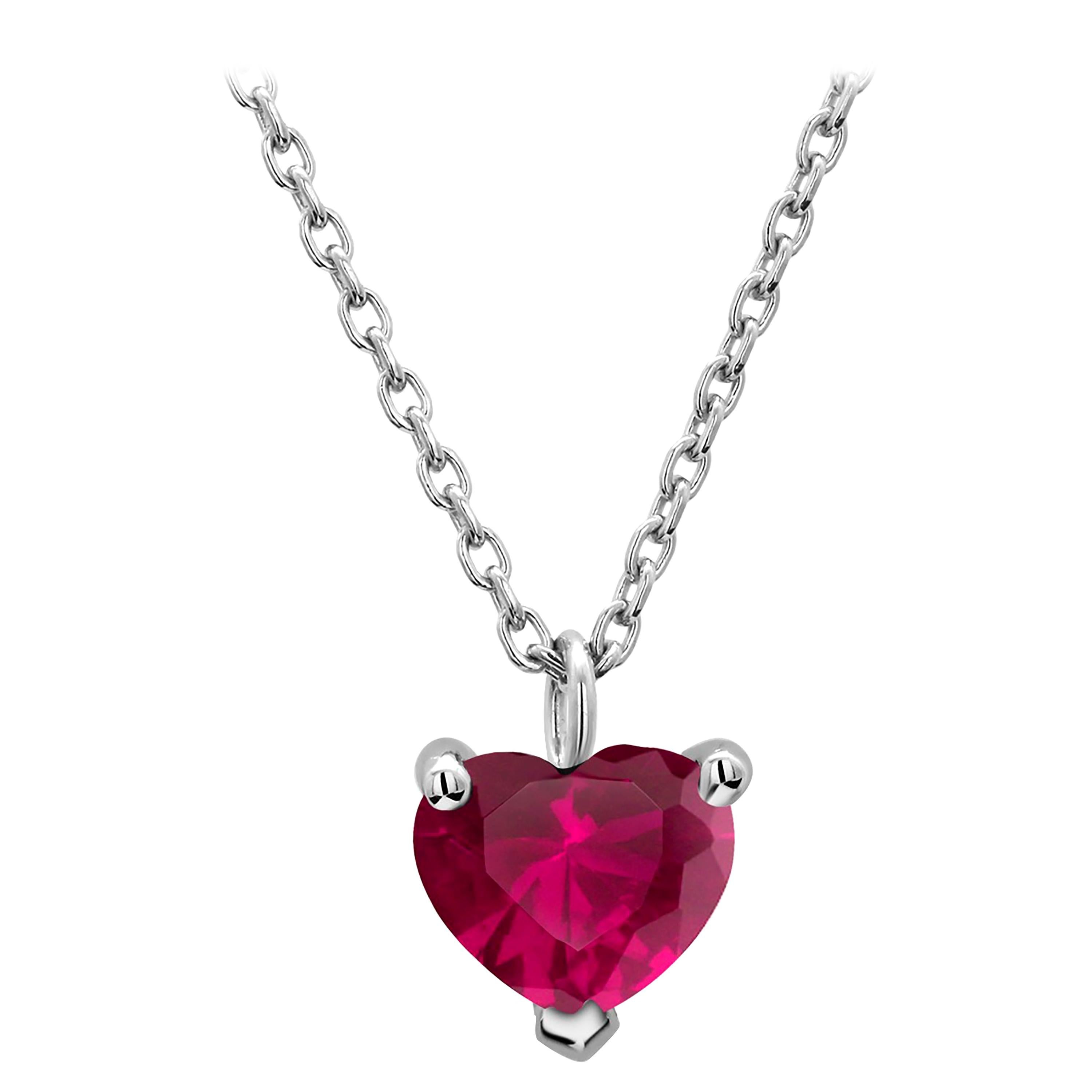 White Gold Heart Shape Red Burma Ruby Drop Necklace Pendant